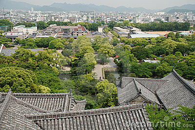 View Over Roofs at Himeji Castle