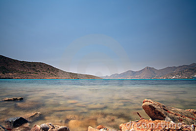 View over sea from the island of Spinalonga,Crete,