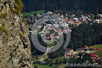 View Overlooking Busteni Village, Romania