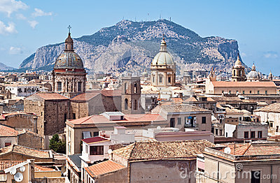 View of Palermo with old houses and monuments