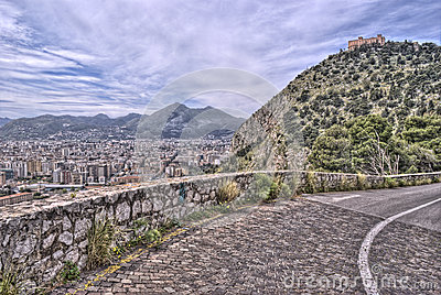 View of Palermo with utveggio castle. sicily italy