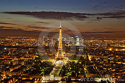 View of Paris by Night Editorial Photo