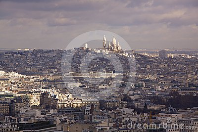 View of Paris towards Sacre Coeur