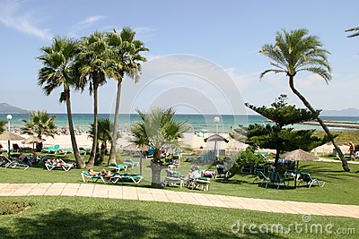 View on a park in a front of beach and sea