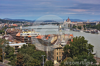 A view of the Pest and Buda parts of Budapest