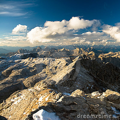 View from Piz Boe over dolomite alps
