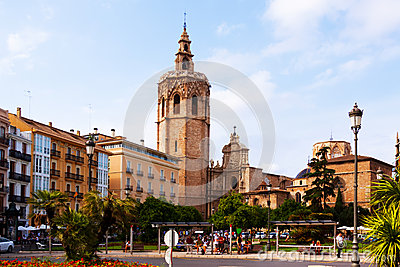View of Plaza de la Reina in Valencia, Spain Editorial Photo