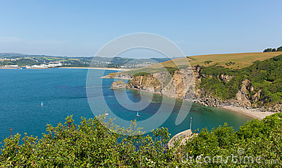 View from Polkerris Cornwall England to Par beach