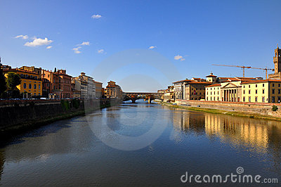 View of Ponte Vecchio and river in Florence