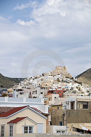 View of port town Syros Cyclades Greece