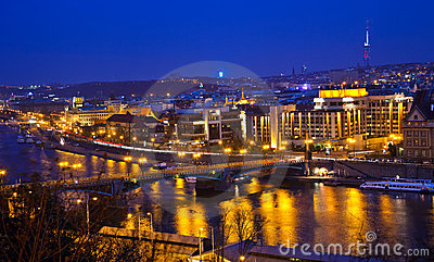 View on Prague and Vltava river