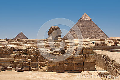 A view of the Pyramid of Khafre from the Sphinx- Giza, Egypt