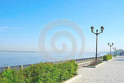 View on quay of river Volga