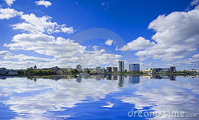 View of quay wharf embankment Yekaterinburg