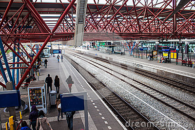 View of a railway station in Zaandam Editorial Photography