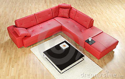 A view of a red leather sofa