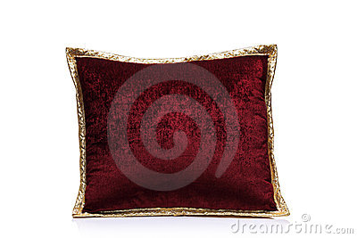 A view of a red pillow