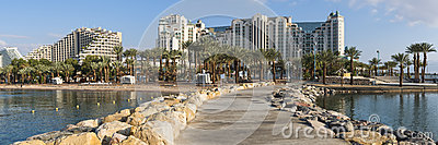 View at the Red sea and hotels from Eilat, Israel
