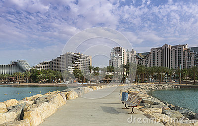 View on the Red sea and hotels of Eilat, Israel