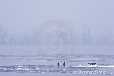 View of river Danube in mid winter