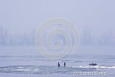 View of river Danube in mid winter