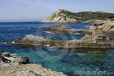 View upon rocks and sea in french riviera