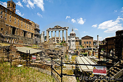 View of Roman Forum ruins