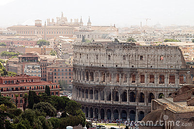 View on Rome with Colosseum
