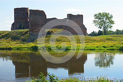 View on the ruin castle. Kolo. Poland