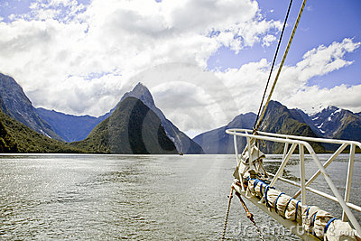 View from sailing boat Milford Sounds New Zealand