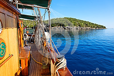 View from sailing boat, Parga, Greece, Europe