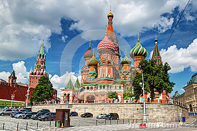 View of the Saint Basil cathedral and the Kremlin in Moscow, Rus Editorial Image