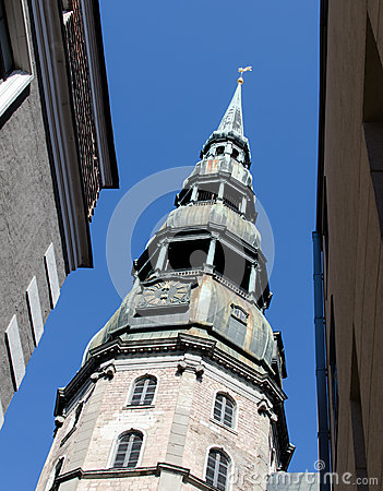 View on Saint Peter cathedral, Riga, Latvia