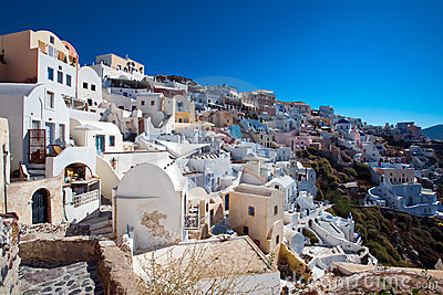 View of Santorini Oia village houses