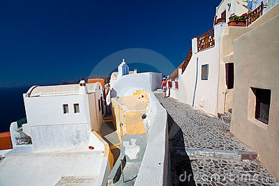 View of Santorini Oia village streets