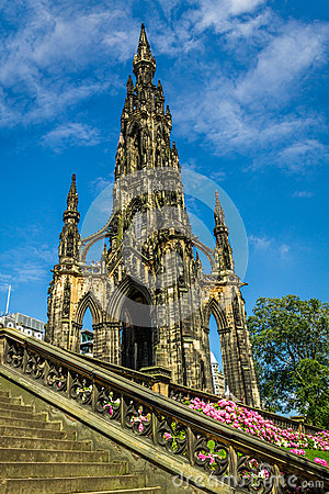 View of Scott Monument in Scotland