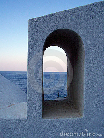 View of the sea through arch