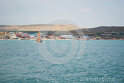 View from sea on summer resort
