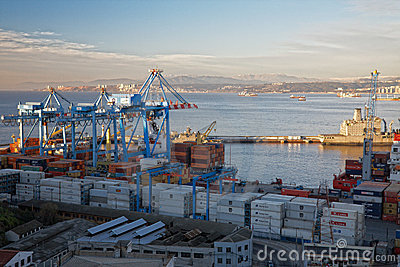 View on the seaport Valparaiso, Chile Editorial Stock Photo