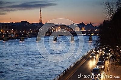 View on the Seine, Arts Bridge, Eiffel Tower Stock Photo