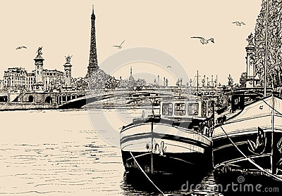View of seine river in Paris with barges and eiffel tower