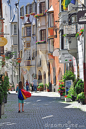 View of a shopping street in austrian city Editorial Image