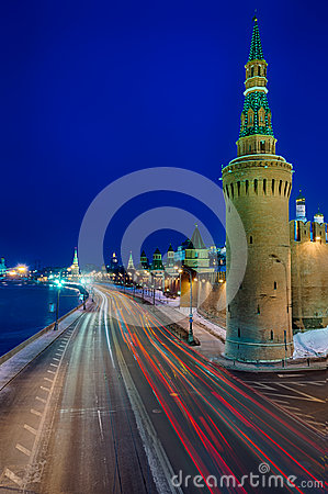 Kremlin street at night
