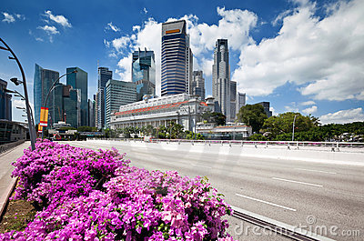 Scenic view of business district, Singapore city