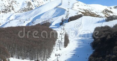 View Of A Ski Resort Area In Italy. Beautiful Landscape View Of Limone Piemonte Ski Resort Area In Italy, Snowy Ski Slope In The Mountain, Province Of Cuneo stock footage