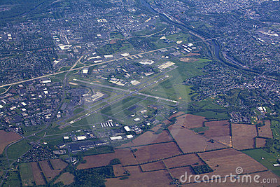 View from small aircraft of small airport