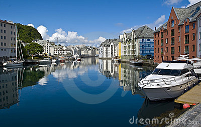 View on small harbour in Alesund, Norway
