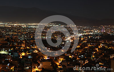 View of Smyrna at night, Turkey.