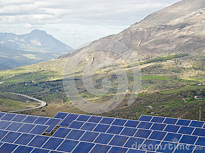 View of solar panels in the Madonie mountains