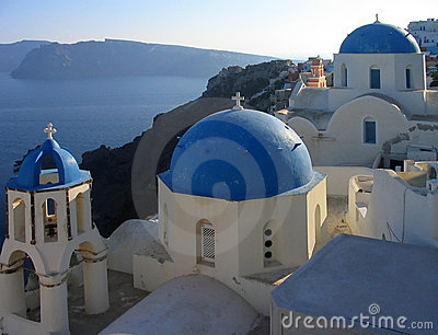 A view of some of the famous churches at Oia, Santorini, Greece